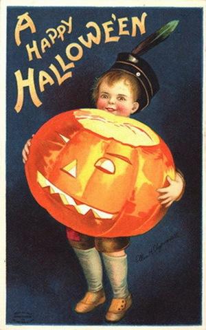 Vintage-little-boy-halloween-pumpkin-postcard