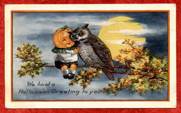 Vintage-halloween-pumpkin-head-little-boy-owl-card
