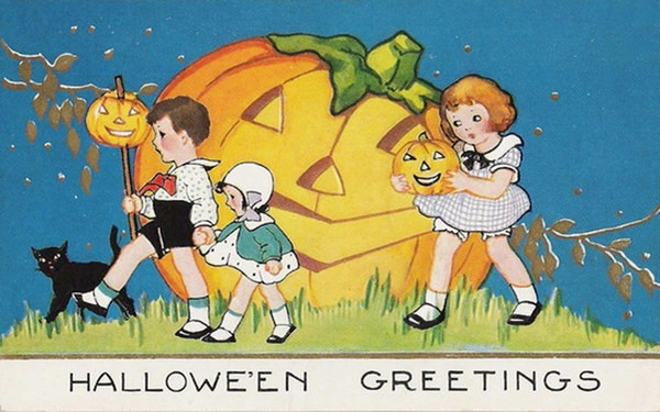 Vintage-threelittle-kids-black-cat-large-pumpkin-card